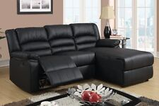 Bonded Black Leather Living Room Sectional Sofa with Recliner