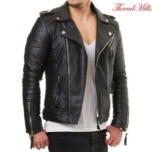 Mens Black Leather Jacket Biker Motorcycle Slim Fit Leather Jacket Coat