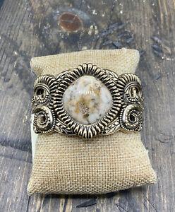 Barse Embellished Cuff Bracelet- Feldspar Jasper- Bronze- NWT