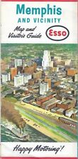 1963 ESSO HUMBLE OIL Road Map MEMPHIS Tennessee Mississippi River McKellar Lake