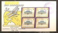 1976 Notfolk Island First Flight 50th Anniversary Cover FFC To Australia