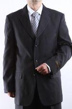 MENS SINGLE BREASTED 3 BUTTON BLACK DRESS SUIT SIZE 44S, PL-60213-BLK