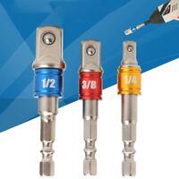 3 Stück Impact Drill Buchse Adapter hex Converter Set auf 1/4 3/8 1/2 Treiber