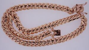 """Miami Cuban Link Chain Necklace 10K Solid Rose Gold 12 MM 175 Grams gold 24"""""""