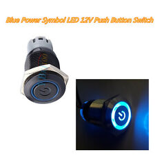12V Car Blue LED Power Push Button Switch ON/OFF Waterproof 16mm Latching New ZY