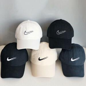 Nike Mens Baseball Caps Swoosh Metal Logo Cap Sports Golf Adjustable Black Hat