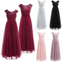 Women Ladies Lace Long Tulle Bridesmaid Formal Dress Evening Prom Gown Party