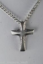 Vintage Cross Necklace Pendant Silver Tone Metal Chain Link Necklace Jewelry