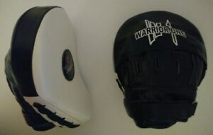 New! Curved Focus Mitts - Leather - Black White - Boxing Thai Kickboxing MMA UFC