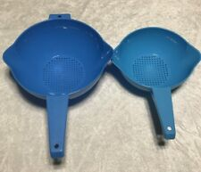 Tupperware 1 and 2 QT  Colander Strainer w/ handle Blue Set New