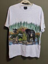 VTG Men's 90s Adirondack Mountains Wildlife Gray Blue Shirt Bear Raccoons M EUC