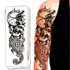 Full Arm Tattoo XXL Death Timer Dangerous Skull   44,5x15,5cm QB-3022