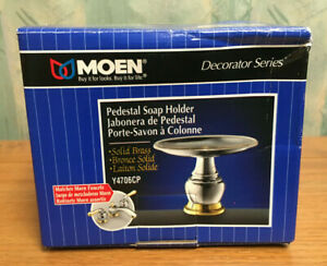 "MOEN 4"" Tall Pedestal Soap Holder Solid Brass 2-Tone Decorator Series Y4706CP"
