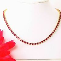 "14K Yellow Gold Over 45CT Oval Cut Red Ruby & Diamond Tennis 18"" Necklace"