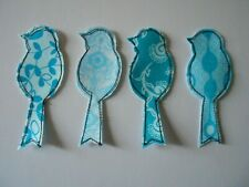 4 Aqua Blue Sewn Parrot Birds Embellishments Fabric Quilt Applique Patch