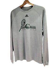 "Adidas Climalite ""Glen Creek Tennis Club"" Long Sleeve Gray Shirt Mens Small"
