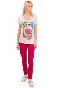 NENETTE T-Shirt Top Size XL Printed Front Rhinestoned Neckline Short Sleeve