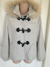 M2M cream/black Medium toggle-button faux-fur trim coat