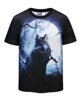 Wolf Full Moon T-Shirt (cool wolf tie dye all over print t shirt)