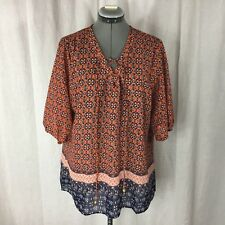 CLAUDIA RICHARD Orange Polyester Plus Size Blouse Size 3