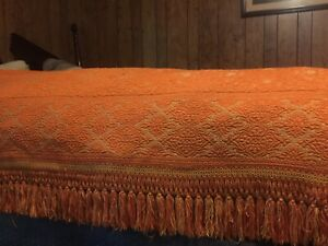 """Vtg Bellissimo Collection Heavy Woven Bedspread Orange & Gold 80""""x100"""" Italy"""