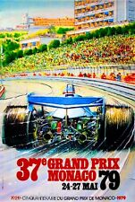1979 37th Monaco Grand Prix Automobile Race Car Advertisement Vintage Poster