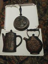 Vintage Homco Kitchen Wall Decor Black Copper Tea Pot, Frying Pan, & Tea Kettle
