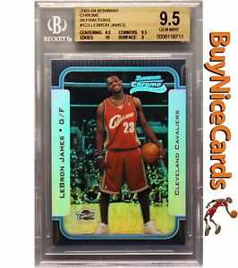 2003-04 Lebron James Bowman Chrome Refractor RC Rookie /300 BGS 9.5 w/ 10 Edges