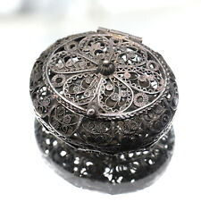 Antique/Vintage Sterling Silver 925 Fine Wire Filigree Oval Miniature Hinged Box