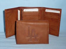 LOS ANGELES DODGERS Leather TriFold Wallet  NEW  brown+