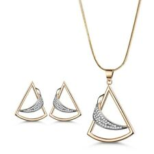 Retro Triangle Gold Filled Swarovski Crystal Lady Necklace Earrings Jewelry SET