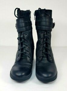 G By Guess Womens Size 7.5 Med Black Combat Boot Gothic Side Zip Lace Up