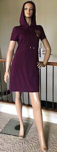 CALVIN KLEIN Women Aubergine CK Logo Hoodie T-Shirt Dress Size M NWT 49$+TAX