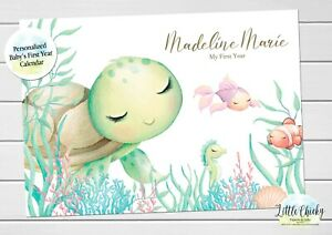Under the Sea Baby's First Year Calendar, Personalized Calendar for new baby