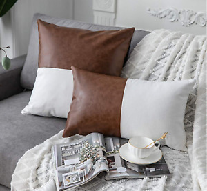 Faux Leather and 100% White Cotton Decorative Pillow Covers Camel Leather Accent