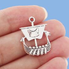 "10PCs Silver Tone Viking Pirate Ship Charm Pendants 27x22mm 1 1//8/""x7//8/"""