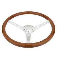 "15"" Steering Wheel + Horn Kit Classic Silver Wood Grain Round hole Brushed Spoke"
