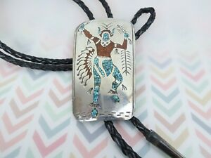 Large long sterling silver coral turquoise inlay buffalo dancer vintage bolo tie