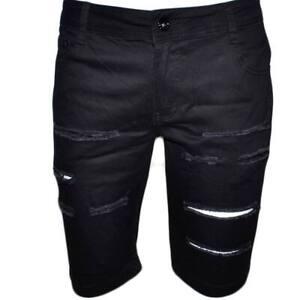 Pantaloni corti shorts pantaloncini uomo neri con strappi slim fit in cotone ber