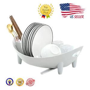 Dish Drying Rack Oval Compact Drainer Utensil Holder Kitchen Organizer White