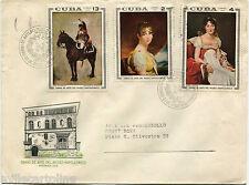 CUBA, FDC, OBRAS DE ARTE MUSEO NAPOLEONICO, ANNULS AUG 1969, 3 STAMPS     m