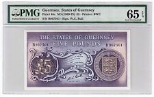 Guernsey 5 Pounds Banknote 1969-75 Pick# 46c PMG GEM UNC 65 EPQ