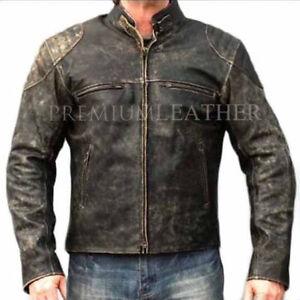 Mens Vintage Leather Jacket Distressed Brown Motorcycle Leather Jacket