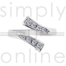 Sterling zilveren Schakel Cubic Zirconia verstelbare teen Ring