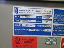 AMP 100 A Circuit Breaker Enclosure SED3100LST 120/208 V 3 Ph 4 Wire 1/3R Nema