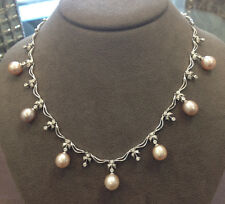 Pink Pearl Dangle Station Necklace with Diamonds in 18k White Gold