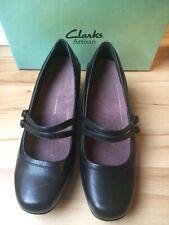 NEW Clarks Artisan Leather Mary Jane 2 Buckle Heel Women 11 XW Black Sugar Dust