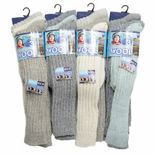 LADIES CHUNKY THERMAL WARMTH-WINTER LONG-WOOL BOOT-WALKING HIKE SOCKS Lot