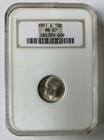 1951 S 10c Roosevelt Dime NGC MS 67