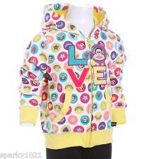 Paul Frank Julius The Monkey Love Zip Front Hoodie Sweatshirt Girl's Size 4 NWT